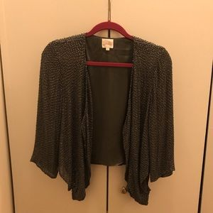 Parker Gray Beaded Sequin Jacket, Size Small